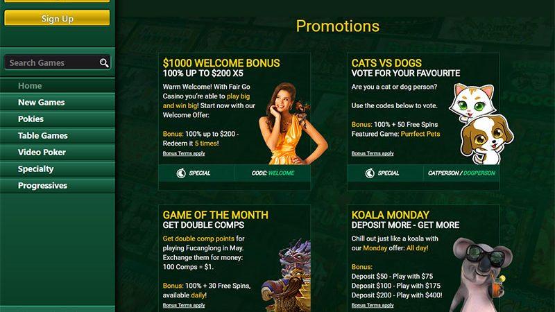 Use fair go bonus codes and win real money